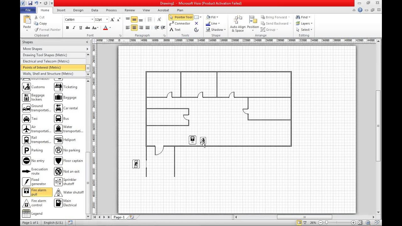 Create a fire escape plan in visio 2010 youtube for Free floor plan template excel