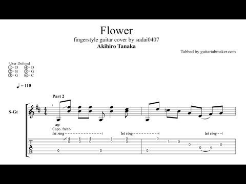 akihiro tanaka flower tab fingerstyle guitar tab pdf guitar pro tab youtube. Black Bedroom Furniture Sets. Home Design Ideas