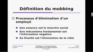Conférence ISS: «Mobbing, ou l'extermination concertée d'une cible humaine»