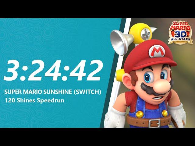 Super Mario Sunshine HD 120 Shines Speedrun in 3:24:42