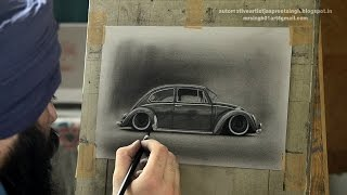 Volkswagen Beetle Charcoal Drawing by Artist Jaspreet Singh