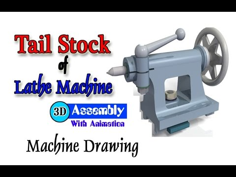 Machine Drawing   Tail Stock of Lathe Parts Assembly