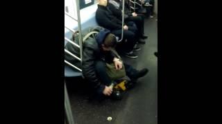 Drunk guy falls short on subway