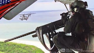 米海兵隊CH-53Eヘリ・ブローニングM3重機関銃(12.7mm)空中射撃訓練:沖縄