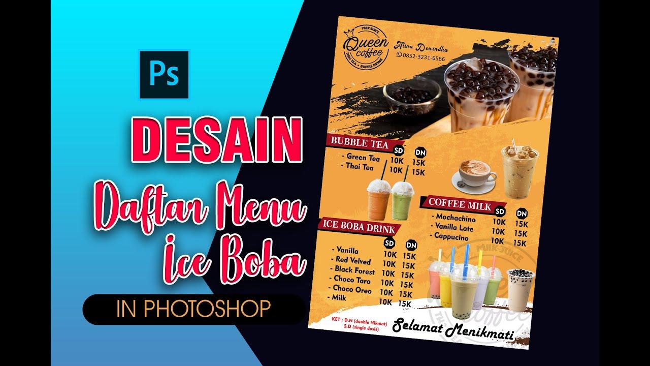 Desain Menu Dalgona Coffe Dan Boba Dalgona Coffe And Boba Menu Design Youtube