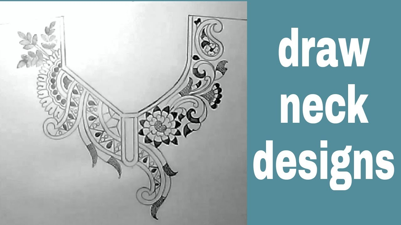 Neck designs sketch for embroidery by pencil - YouTube