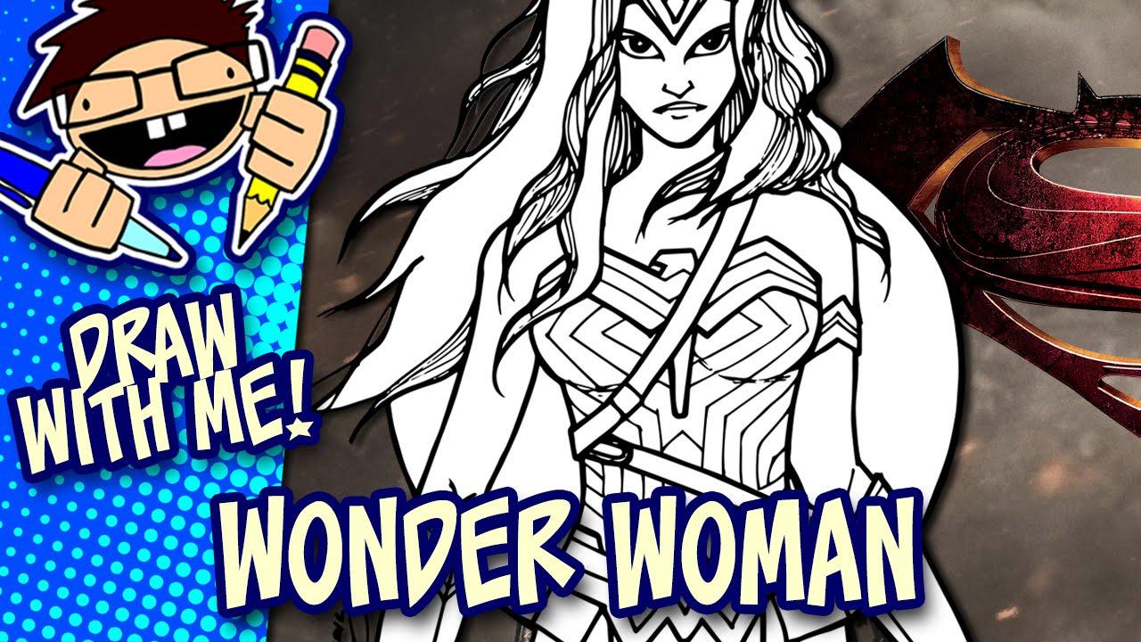 Letu0027s Draw WONDER WOMAN (BATMAN V SUPERMAN: Dawn Of Justice) Drawing Guide    YouTube