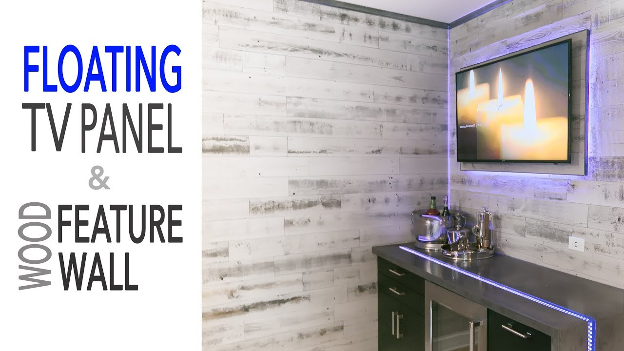 Wood Wall Behind Tv Diy Mancave Renovation Floating Tv Wall Ikea Cabinets Reclaimed Wood Wall