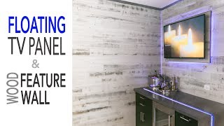 DIY Mancave Renovation || Floating TV Wall - Ikea Cabinets - Reclaimed Wood Wall