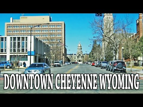 DRIVING  DOWNTOWN CHEYENNE WYOMING USA.