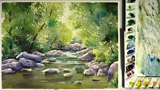 Watercolor landscape painting : The Water Stream