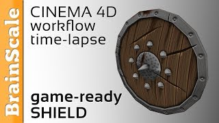 Low poly Shield - Modeling and texturing time-lapse - CINEMA 4D