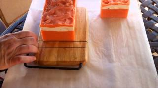 Cutting the Victorian Rose Soap