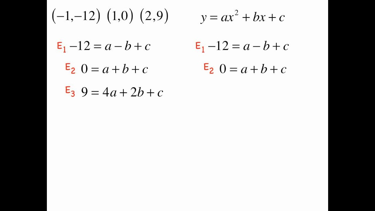 How To Find A Quadratic From 3 Points