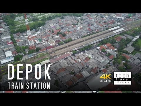 [4K] Depok Train Station Drone View