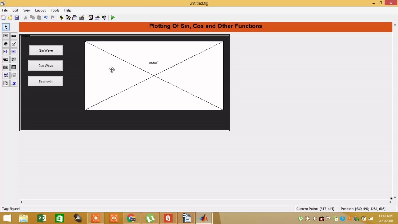 Sin Wave Cos Wave And Sawtooth Wave Plotting Gui In Matlab Youtube