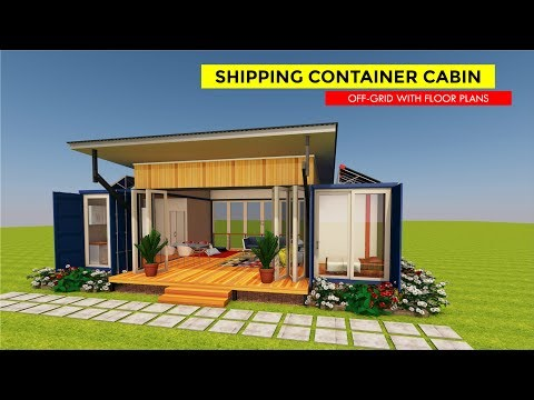 Shipping Container Off grid Cabin Design with Floor Plans