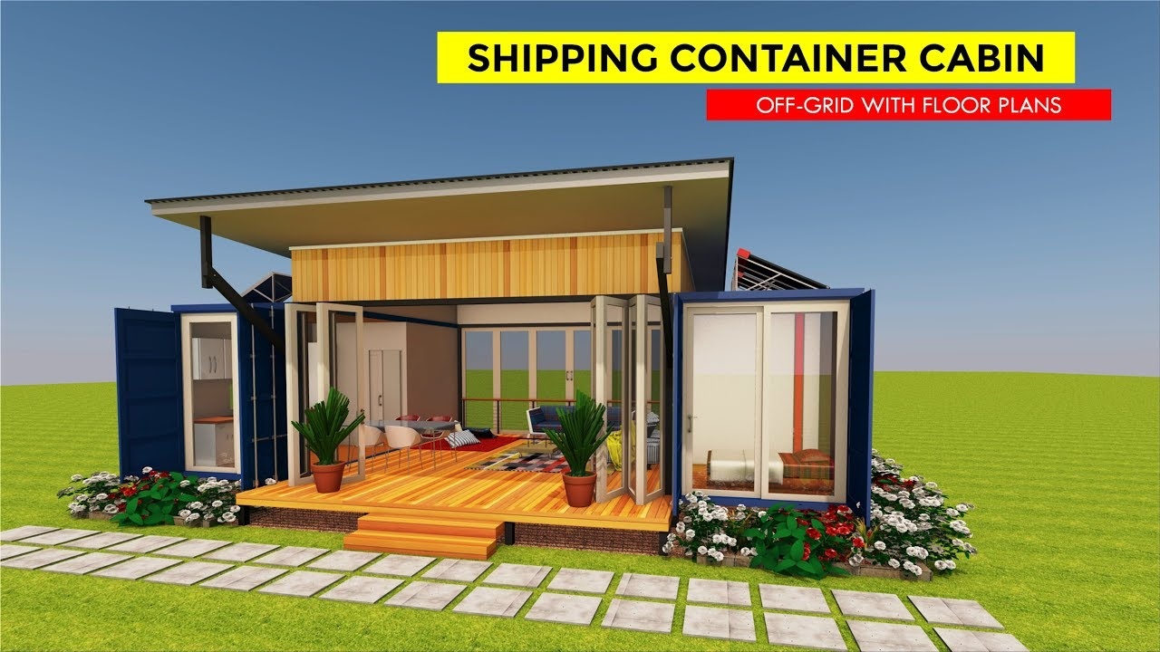 Shipping Container Off grid Cabin Design with Floor Plans ...