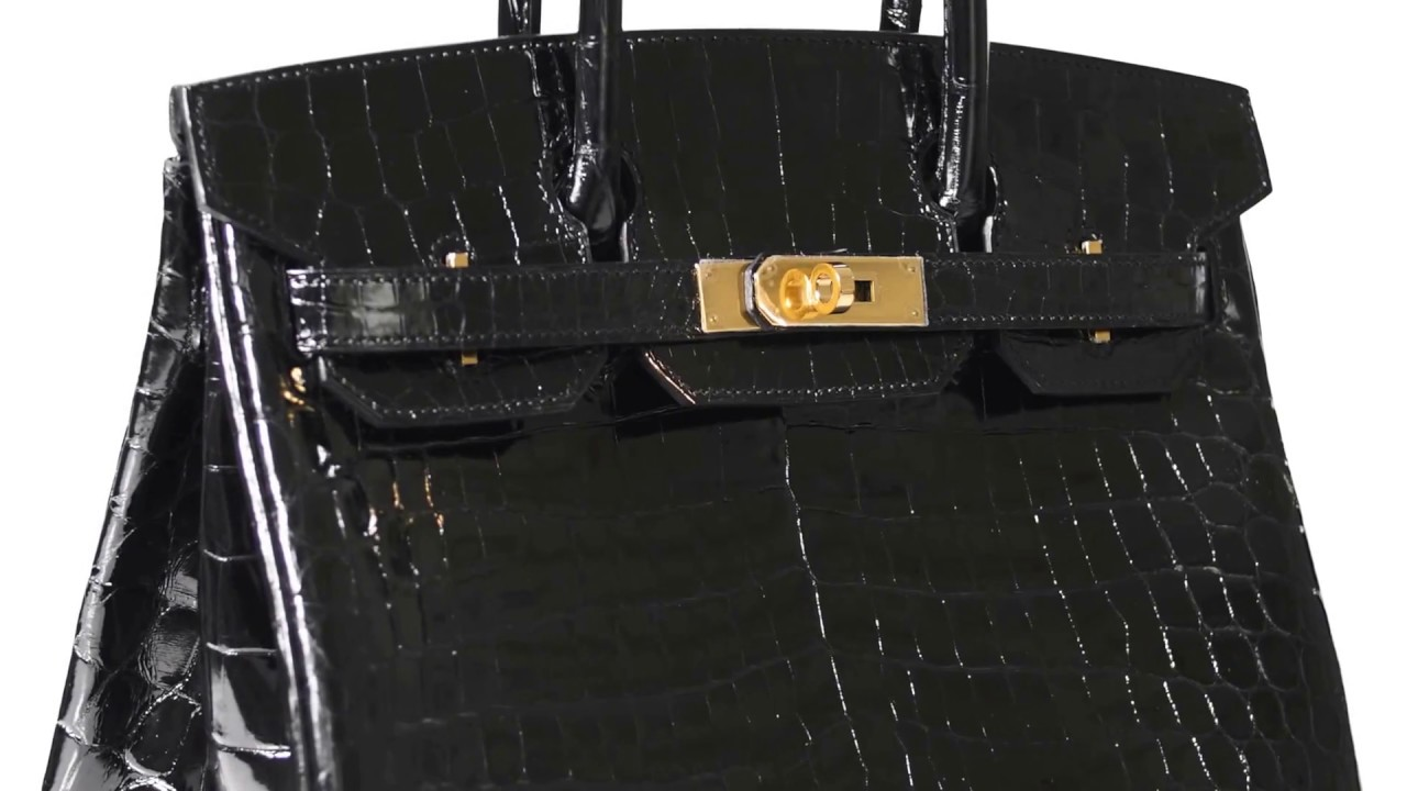 701922489c50 Hermes Black Niloticus Crocodile Birkin 25cm Gold Hardware - YouTube