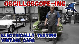 The CAR WIZARD tests a '66 Ford Mustang using an Autel Oscilloscope. More magic toys in his tool box