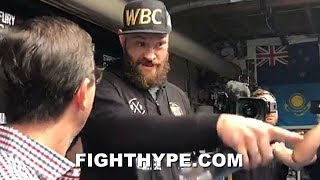 (WOW!) TYSON FURY KICKS REPORTER OUT OF WORKOUT FOR BEING A HATER: