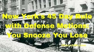 New York 45 day Rule: Criminal Defense Motions: You Snooze You Lose