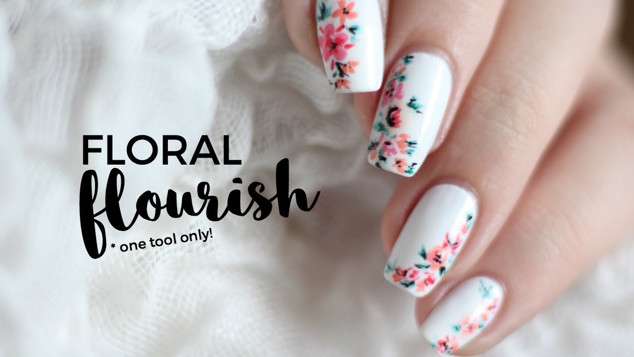One Tool Only Easy Abstract Floral Nail Art Followthatway Youtube