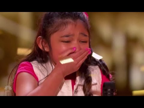 "Thumbnail: Angelica Hale: gets GOLDEN BUZZER after burning down AGT with ""GIRL ON FIRE"" 