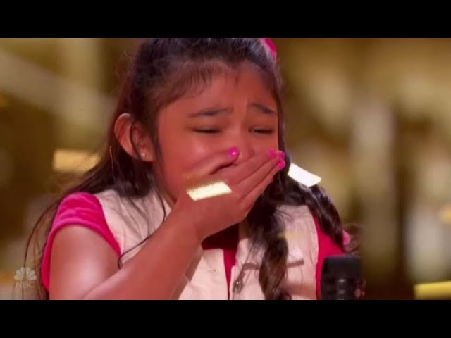 """Angelica Hale: gets GOLDEN BUZZER after burning down AGT with """"GIRL ON FIRE"""" 