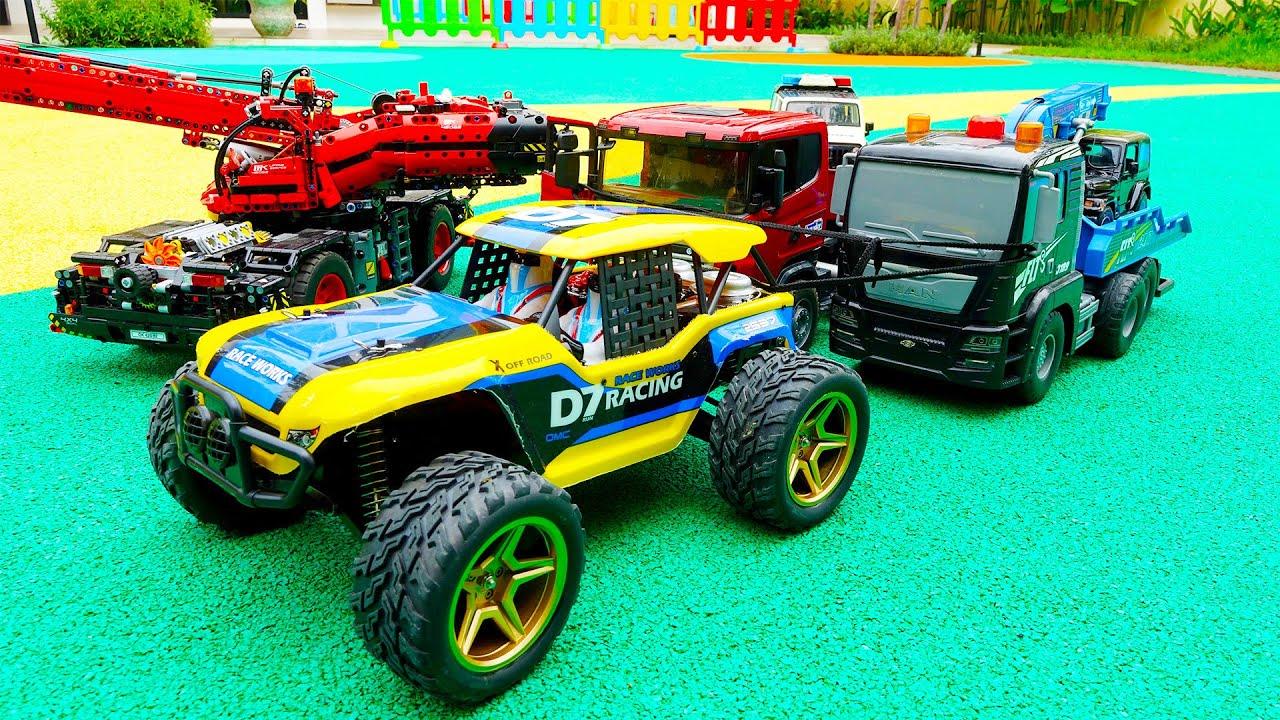 트럭 장난감 구출놀이 경찰차 포크레인 중장비 자동차 놀이 Truck Toy Rescue Police Car