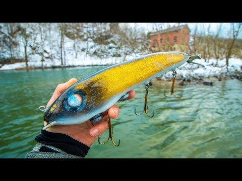 Winter Fishing HUGE BAITS For GIANT MUSKIE! My BIGGEST Yet?! (river monster)
