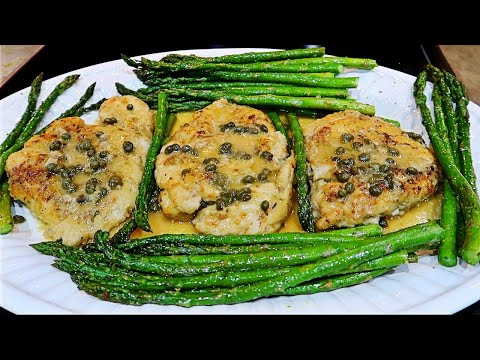 Dinner: Chicken Piccata with Asparagus & Mashed Potatoes