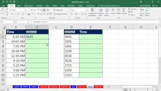 Excel Magic Trick 1262: Convert Times Values to HHMM Text or Text HHMM Values to Time Values