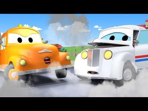 Tom la Dépanneuse et Peter la voiture de la poste dans la Ville des Voitures | Dessins animés