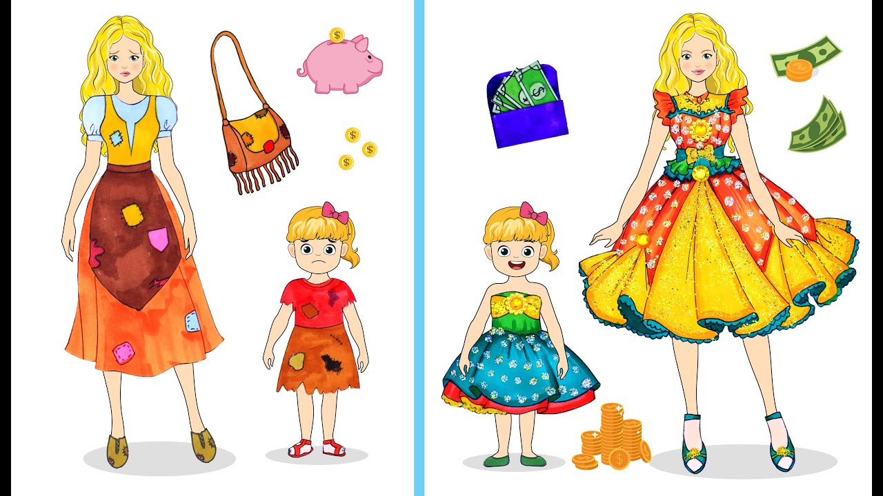 [DIY] Paper Dolls Pick up Big Money Wallet ! From Torn to Beautiful Dresses Handmade Papercrafts