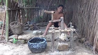 Primitive Life-Make A Millstone!-Primitive Technology used!
