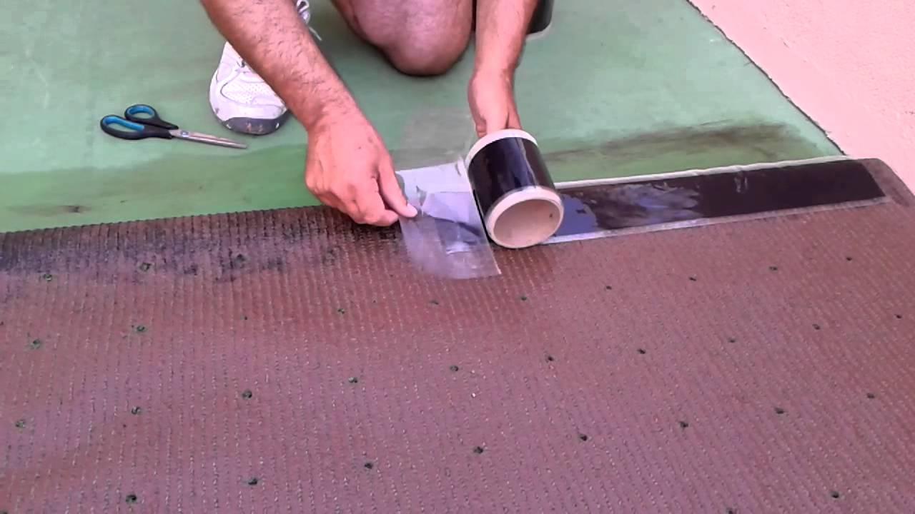 Aplicaci n c sped artificial fijaci n junta rapida sobre for Colocar baldosas sobre hormigon