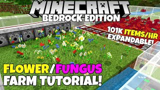 Minecraft Bedrock: FLOWER & FUNGUS FARM Tutorial! 101,805 Items/Hour! MCPE Xbox PC Ps4