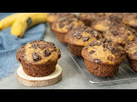 Healthy Banana Peanut Butter Chocolate Muffins
