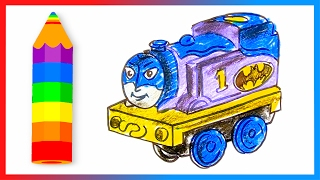 How to Draw Thomas the Train as Batman ♦ Thomas and Friends Minis ♦ Drawing and Coloring Lesson