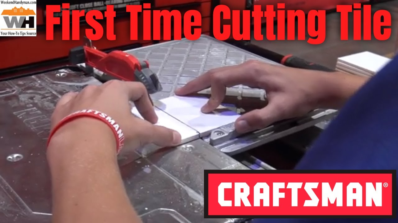 cutting tile for the first time with the craftsman v20 7 inch compact cordless wet tile saw