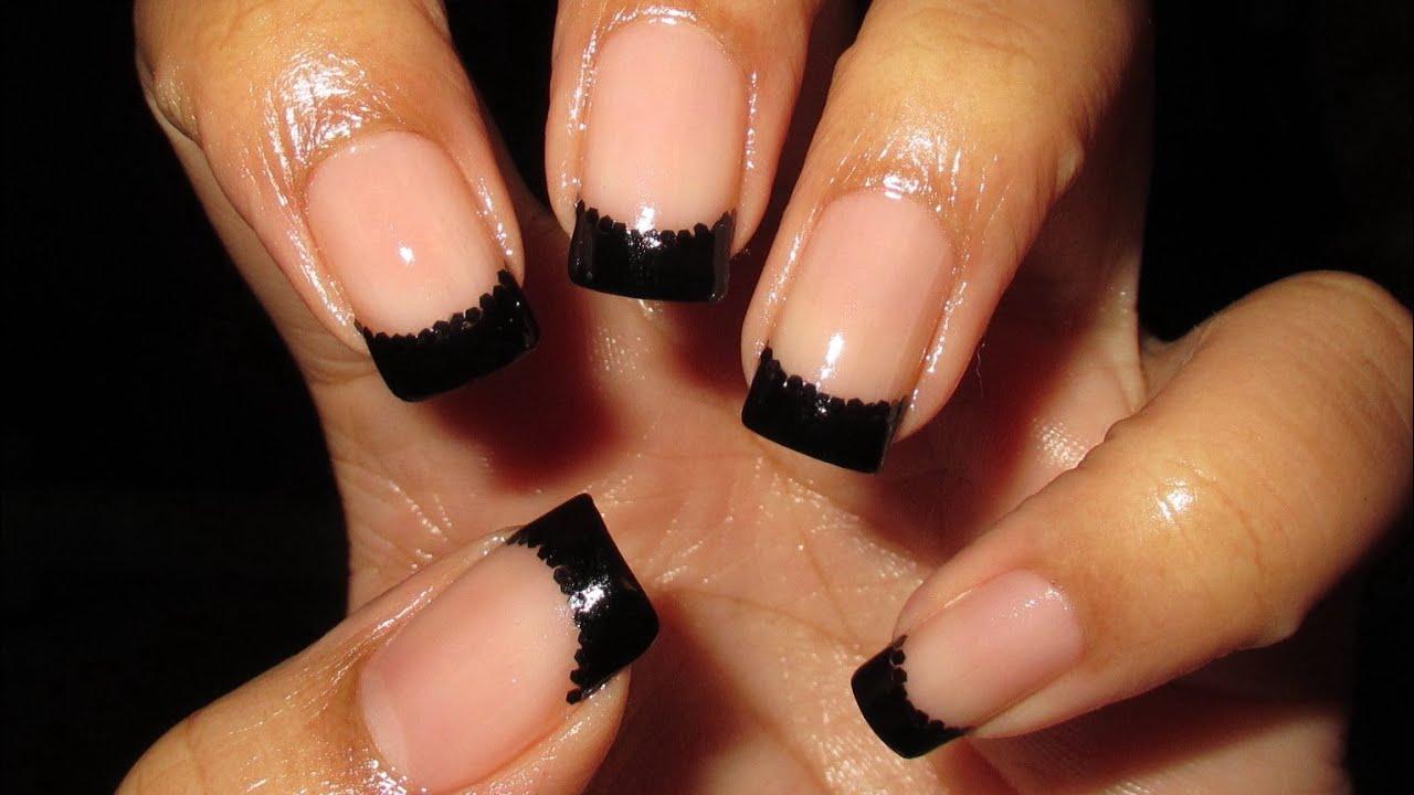 Black & Black Glitter French Tip - YouTube