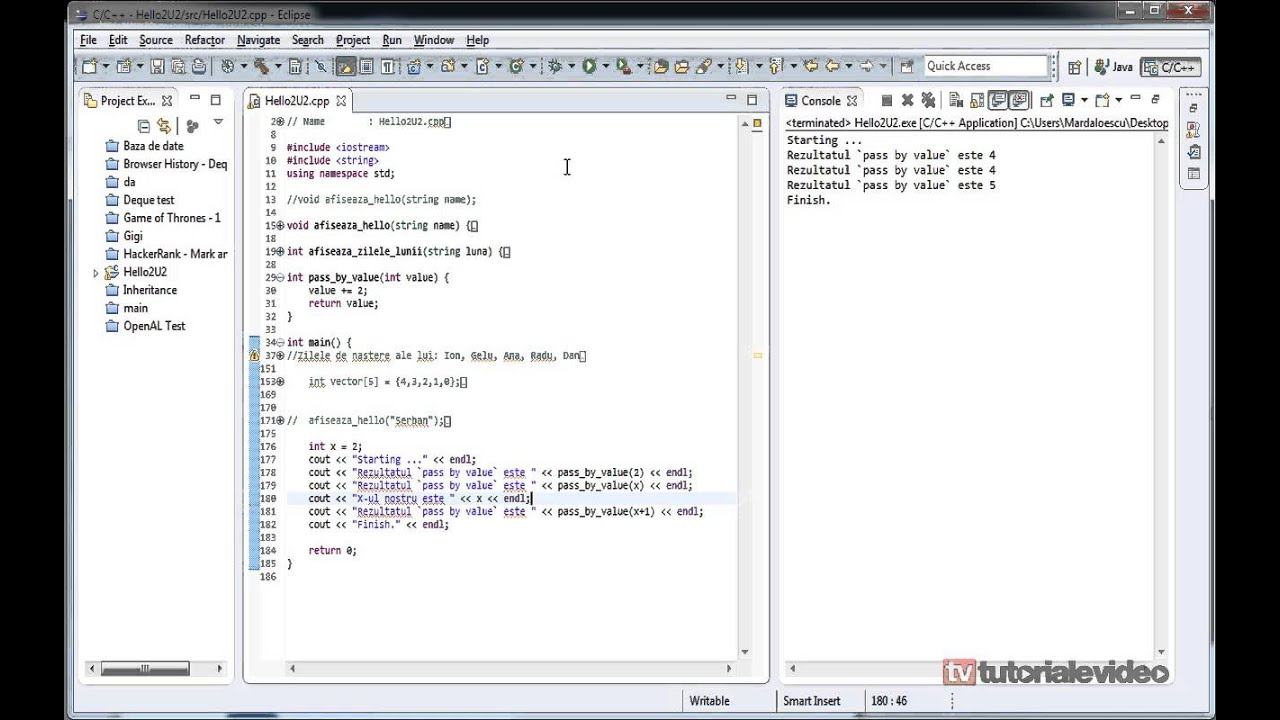 Introducerea in c++ tutorial video nr 14 despre transmiterea parametrilor