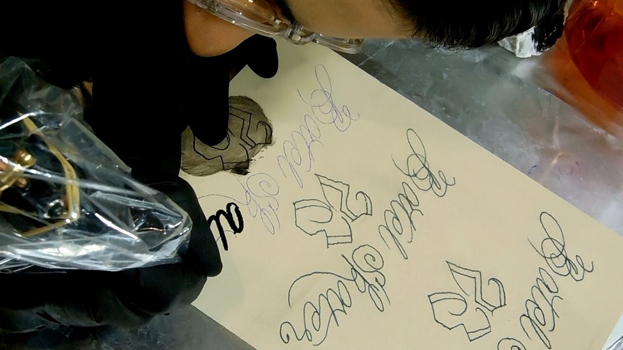 Practice tattoo script lettering on fake skin youtube for How to make fake skin for tattooing