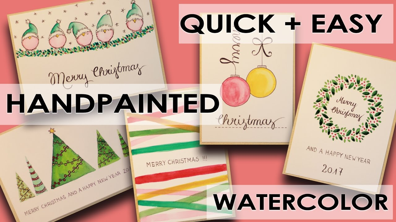 5 DIY Watercolor Christmas Cards Different Designs Quick