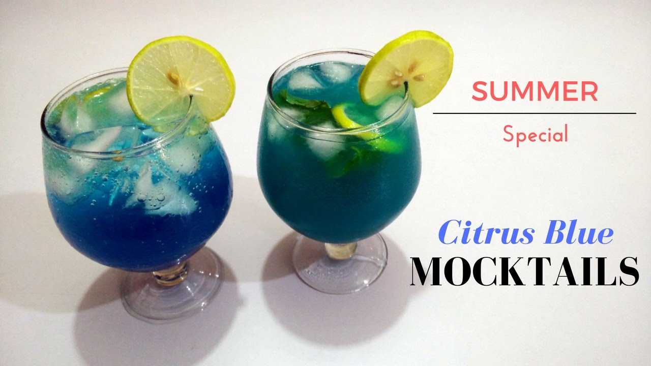Blue Curacao Cocktail Alkoholfrei Citrus Blue Mocktail Refreshing Summer Drinks Recipe
