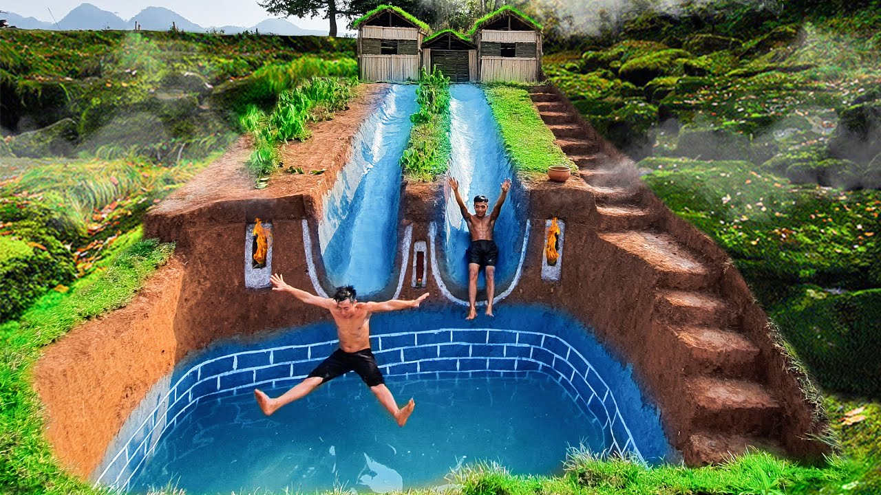 Build Swimming Pool With Two Water Slide Longest Around Secret Underground House
