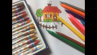 Baby draw color details house, tree, fence ....how to draw beautiful