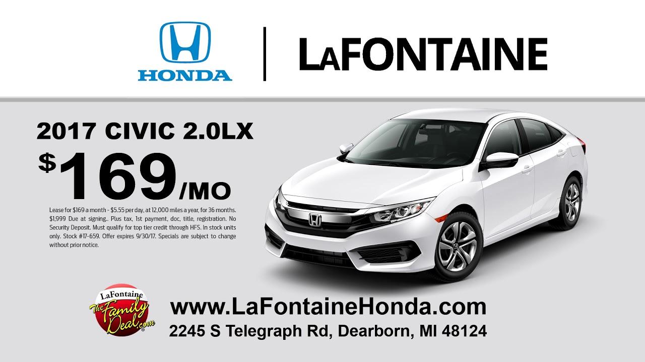 LaFontaine Honda Dearborn | September 2017 | 2017 Honda Civic lease