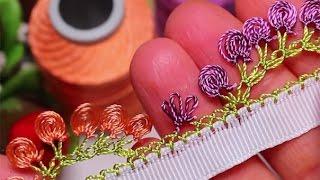 Турецкое игольное кружево ойя. Урок № 8: цветочная кайма